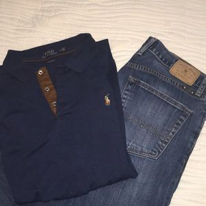 1 Lucky Brand Jean & 1 Polo long sleeve shirt